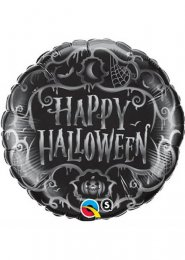 Inflated Gothic Black Happy Halloween Helium Balloon