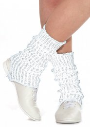 White and Silver Stirrup Dance Leg Warmers 60cm