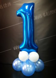 Metallic Blue Number 1 Balloon Centrepiece