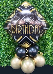 Black And Gold Art Deco Happy Birthday Balloon Centrepiece