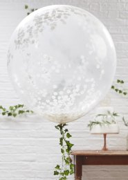 Giant White Confetti Filled Balloons Pk3