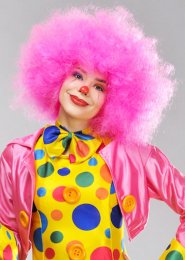 Womens Circus Clown Large Pink Afro Wig