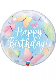 Inflated Butterfly Happy Birthday Bubble Helium Balloon
