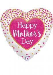 Inflated Pink Sparkle Happy Mothers Day Heart Helium Balloon