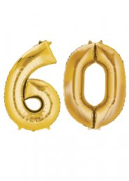 Large Gold 60th Birthday Large Number Balloons on Weights