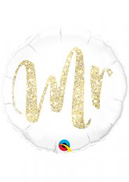Inflated Gold Glitter Mr Wedding Helium Balloon