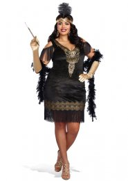 Womens Plus Size 1920s Black and Gold Flapper Costume
