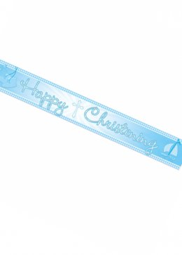 Blue Booties Happy Christening Foil Banner