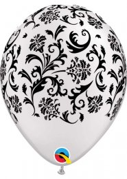 Inflated White Damask Pattern Helium Party Balloon