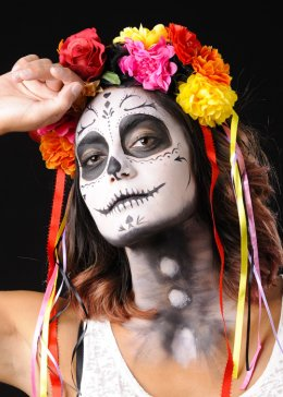 Adult Day of The Dead Flower Skull Headband