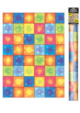 70's Party Decoration Disco Boogie Squares Room Roll