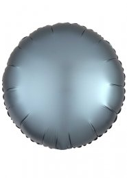 Inflated Steel Blue Satin Luxe Circle Helium Balloon