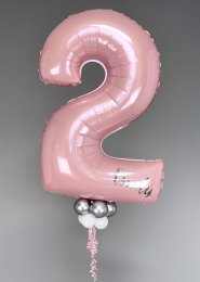 Personalised Baby Pink 2nd Birthday Number Balloon with Collar