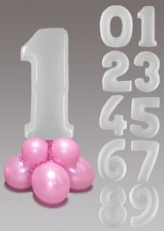 White and Baby Pink Large Number Balloon Centrepiece