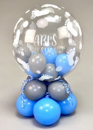 Personalised Baby Shower Blue and Grey Bubble Centrepiece