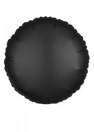 Inflated Onyx Black Satin Luxe Circle Helium Balloon