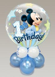 Inflated 1st Birthday Mickey Mouse Bubble Balloon Centrepiece