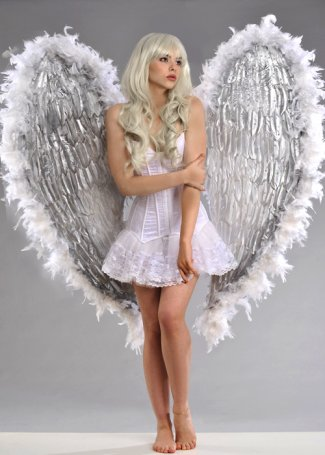 Luxury Large White and Silver Diamante Aphrodite Festival Wings
