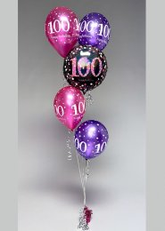 Inflated Pink Glitz 100th Birthday Helium Balloon Cluster