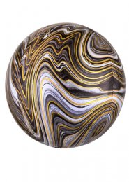 Inflated Black and White Marble Orbz Helium Balloon