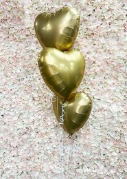 Inflated 3 Gold Hearts Helium Balloon Cluster