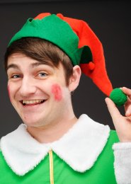 Red and Green Christmas Elf Hat With Pom Pom