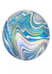 Inflated Blue and White Marble Orbz Helium Balloon