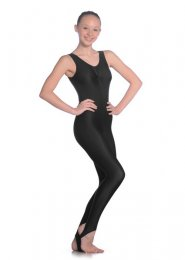 Black Sleeveless Ruched Dance Catsuit