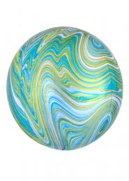 Inflated Blue and Green Marble Orbz Helium Balloon