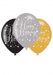 Black and Gold Birthday Party Balloons Pk6