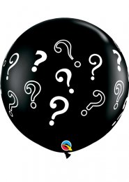 Inflated Black Question Mark Gender Reveal Balloon with Confetti