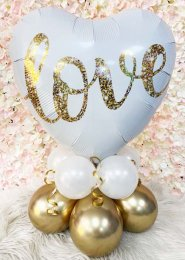 Gold and White Love Inflated Balloon Centrepiece
