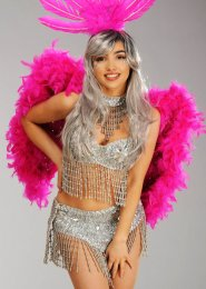 Deluxe Diamante Hot Pink Feather Angel Wings