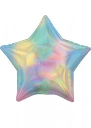 Inflated Iridescent Pastel Rainbow Star Helium Balloon