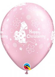 Inflated Pink Happy Christening Helium Party Balloon