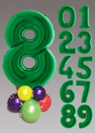 Bright Green and Multicoloured Large Number Balloon Centrepiece