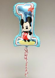 Inflated Blue Mickey Mouse 1st Birthday Number Balloon on Weight