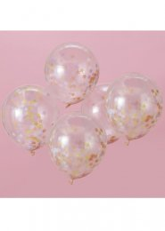 Pastel Star Confetti Filled Balloons Pk5