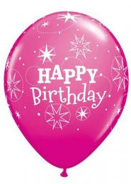 Bright Pink Happy Birthday Party Balloons Pk6