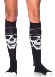 Womens Halloween Black Biker Skull Knee Socks