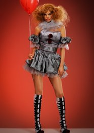 Womens Deluxe Grey Pennywise It Clown Costume