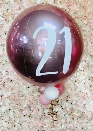 Inflated Luxe Rose Gold 21st Birthday Orbz Helium Balloon