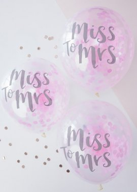 Hen Party Miss To Mrs Pink Confetti Balloons Pk5