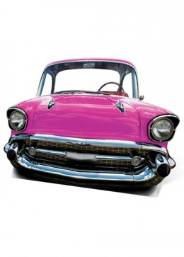 50's Pink Car Card Cut Out Decoration