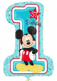 Inflated Blue Mickey Mouse 1st Birthday Supershape Balloon
