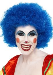 Bright Blue Curly Clown Wig
