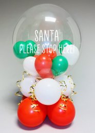 Inflated Santa Stop Here Christmas Bubble Balloon Centrepiece
