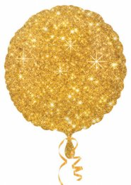 Inflated Glitter Gold Circle Shaped Helium Balloon