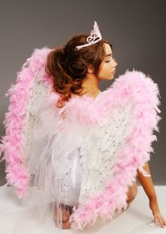 Deluxe Bride To Be White and Pink Feather Angel Wings