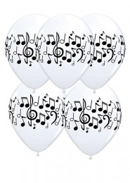 White Music Note Party Balloons Pack 5